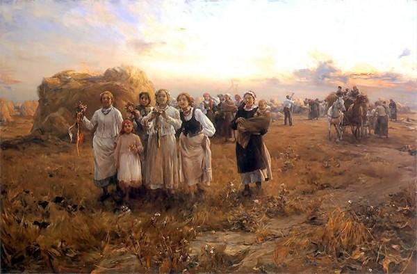 Alfred Wierusz-Kowalski, Dożynki. ok. 1910, olej na płótnie; 90 x 137 cm; Pinakoteka